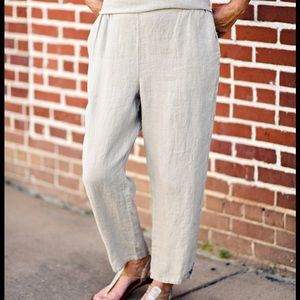 Flax Tapered Leg Linen Ankle Crop Pants